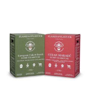 Europese eik en beuk houtskool en cubaanse marabu houtskool van Flames & Flavour