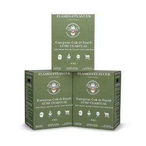 volume voordeel Europees Eiken & Beuken houtskool van Flames & Flavour 3 x 9kg