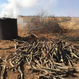 In Namibie worden verplaatsbare ijzeren Kilns gebruikt voor het maken van houtskool